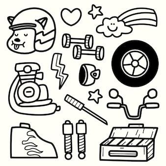 Conception de coloriage moto doodle dessin animé dessiné à la main