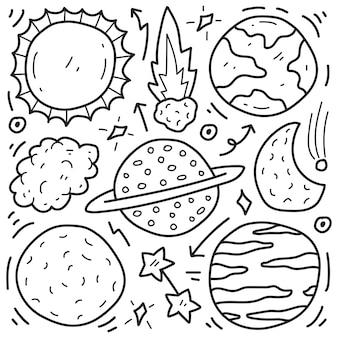 Conception de coloriage planète doodle cartoon dessiné à la main