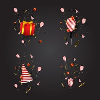 Conception de complément d'événement de fête, contient des chapeaux de fête, des coffrets cadeaux, des rubans et des ballons