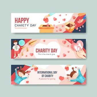 Conception de concept de bannière de la journée internationale de la charité avec la publicité de vecteur aquarelle.