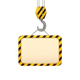 Conception de concept de carte de bannière de crochet de grue industrielle