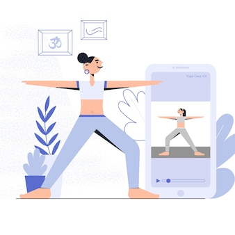 Conception de concept de cours de yoga en ligne