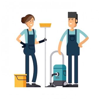 Conception de concept d'entreprise de nettoyage.