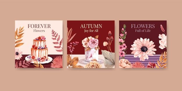 Conception de concept de fleur d'automne pour la publicité et le marketing