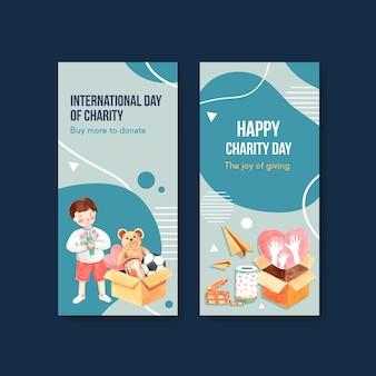 Conception de concept de flyer journée internationale de la charité avec vecteur aquarelle brochure et dépliant.