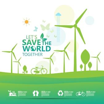 Conception de concept d'idée créative de conservation de l'écologie et de l'environnement