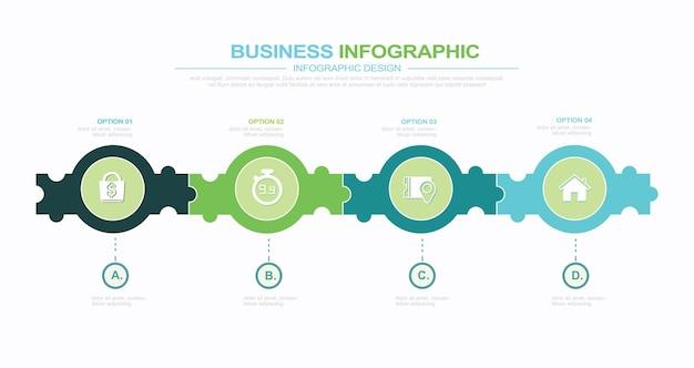 Conception de concept d'infographie de puzzle avec 4 options ou étapes peut être utilisé pour les affaires de brochure