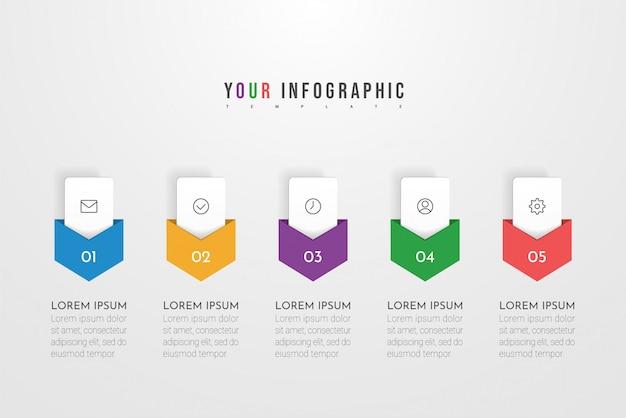 Conception de concept infographique avec cinq options, étapes ou processus. peut être utilisé pour la mise en page du flux de travail, le rapport annuel, les organigrammes, les diagrammes, les présentations, les sites web, les bannières, les documents imprimés.