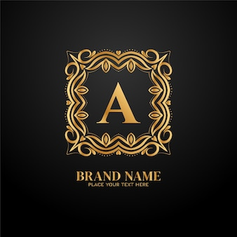Conception de concept de lettre a marque de luxe logo doré