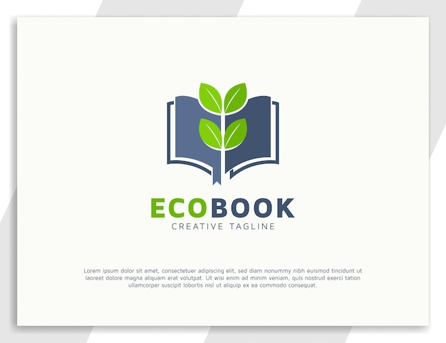 Conception de concept de logo de livre et de feuilles