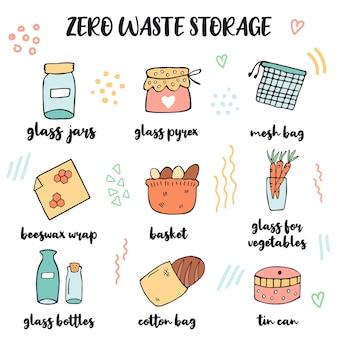Conception de concept de magasinage zéro déchet avec des éléments écologiques dessinés à la main