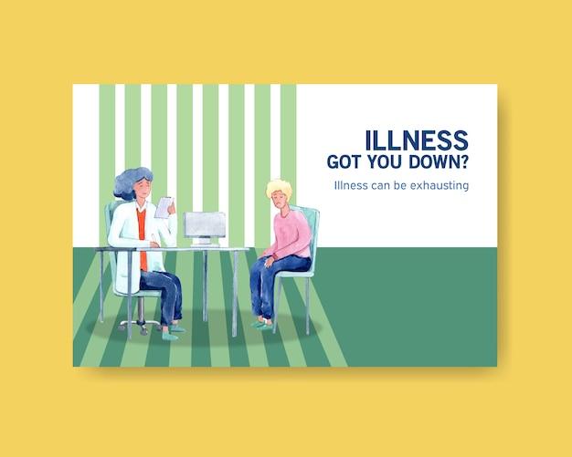 Conception de concept de maladie de modèle facebook avec des personnes et des personnages de médecin illustration aquarelle symptomatique infographique