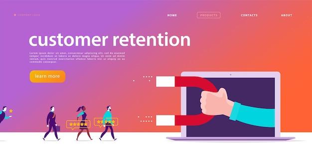 Conception de concept de page web de vecteur, thème de fidélisation de la clientèle. les gens donnent des commentaires positifs, la main humaine, l'aimant. modèle de site d'application mobile de page de destination. illustration de l'entreprise. marketing entrant