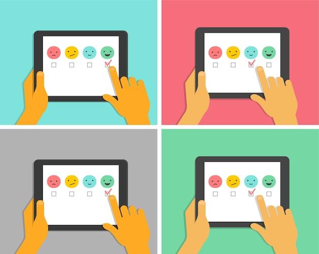 Conception de concept de rétroaction, émoticône, emoji et sourire, échelle d'émotions