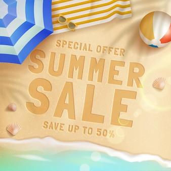 Conception de concept de vente d'été réaliste