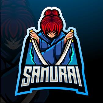 Conception de conception de mascotte de logo d'esport de samouraï