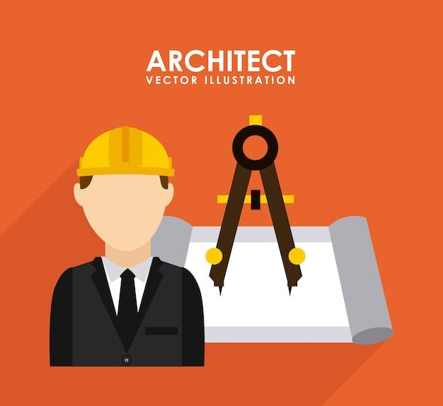 Conception de la construction au cours de l'illustration vectorielle fond orange