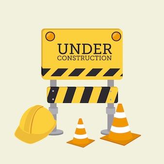 Conception de la construction sur fond jaune