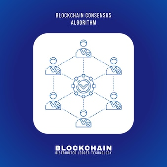Conception de contour de vecteur principe de l'algorithme de consensus blockchain expliquer schéma illustration icône carré arrondi blanc isolé sur fond bleu