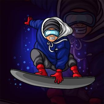 La conception cool du logo esport homme d'embarquement sur glace d'illustration