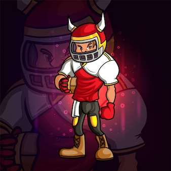 La conception cool de mascotte d'esport de joueur de rugby de l'illustration