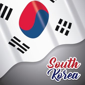 Conception de la corée du sud avec le drapeau