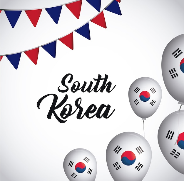 Conception de la corée du sud avec des fanions décoratifs et des ballons