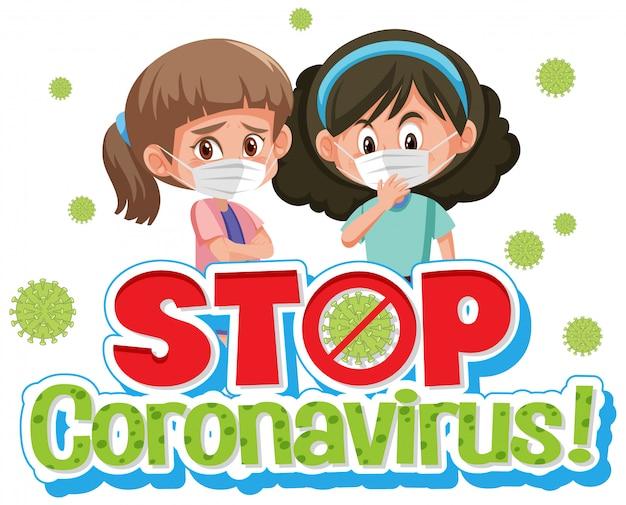Conception de coronavirus avec word stop coronavirus