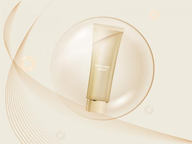Conception cosmétique de beauté avec un produit de crème blanchissante