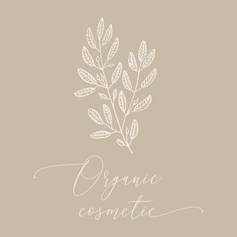 Conception cosmétique dessinée à la main de ginkgo biloba étiquette écologique moderne ou modèle de carte de voeux
