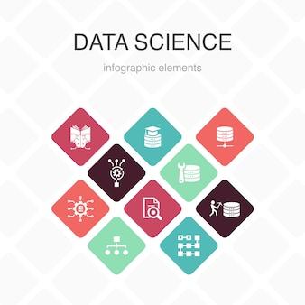 Conception de couleur d'option 10 d'infographie de science des données. apprentissage automatique, big data, base de données, icônes simples de classification
