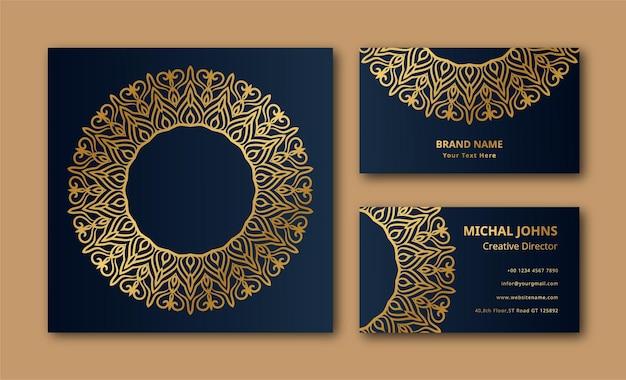 Conception de couleur or de fond de carte de visite de mandala