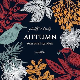 Conception de couronne d'automne colorée à la mode oiseaux sauvages sur fond bleu foncé