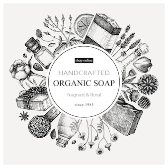 Conception de couronne de savon biologique dans un style vintage temp de matériaux aromatiques dessinés à la main