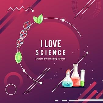 Conception de couronne de science avec tube à essai, illustration aquarelle de flacon en verre,