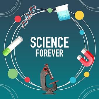 Conception de couronne de science avec tube à essai, illustration aquarelle de microscope,