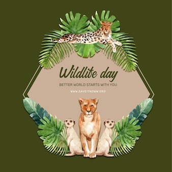 Conception de couronne de zoo avec léopard, lion, illustration aquarelle suricate,