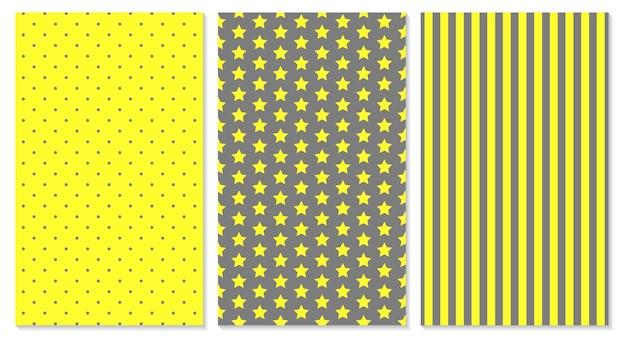 Conception de couverture abstraite de couleurs jaunes et grises. pois, rayures, étoiles. affiches géométriques à la mode.