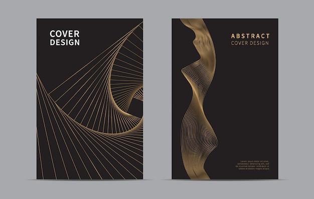 Conception de la couverture abstraite. fond de la ligne d'or.