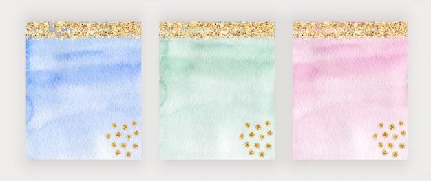 Conception de couverture aquarelle bleu, vert et rose avec texture de paillettes d'or, confettis