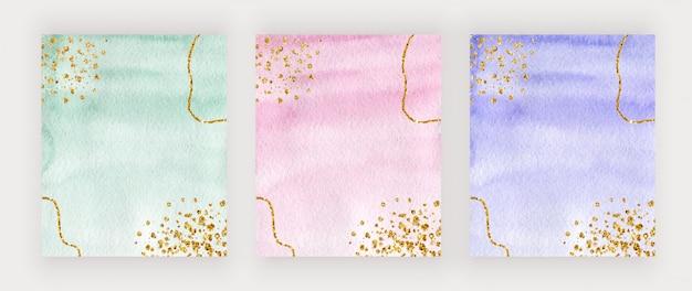 Conception de couverture aquarelle verte, rose et violette avec texture de paillettes d'or, confettis
