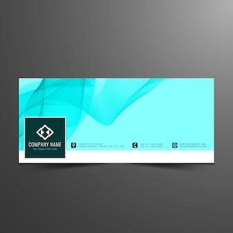 Conception de couverture bleue et ondulée de facebook