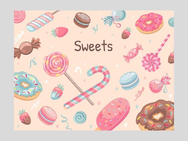 Conception de la couverture avec des bonbons. glaces, bonbons, beignets, macarons, illustrations de sucettes
