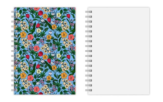 Conception de la couverture du cahier avec motif floral