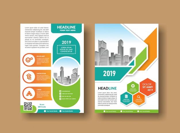 Conception de la couverture du dépliant city fond business book