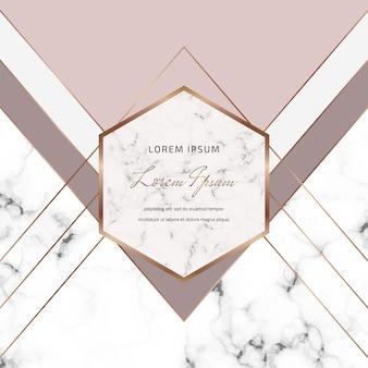 Conception de couverture géométrique avec des formes de triangles nus et gris et des lignes dorées sur la texture du marbre.