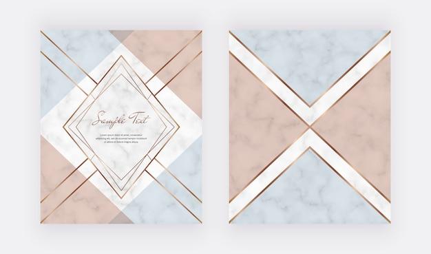 Conception de couverture géométrique avec des formes triangulaires roses, bleues, de feuille de cuivre et des lignes dorées sur la texture du marbre.