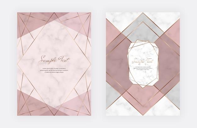 Conception de couverture géométrique avec des formes triangulaires roses et grises et des lignes dorées sur la texture de marbre.