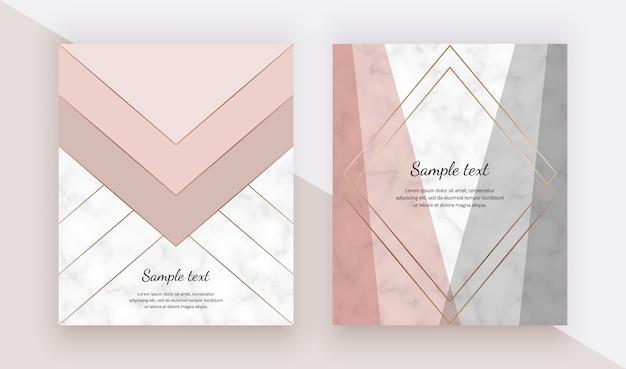 Conception de couverture géométrique moderne avec des formes de triangles roses et gris et des lignes dorées sur la texture de marbre.