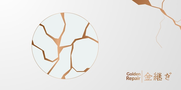 Conception de couverture en kintsugi de restauration dorée avec fond blanc. texture en céramique de marbre élégante de luxe. fissure et motif de sol cassé pour mur, affiche, bannière, médias sociaux,